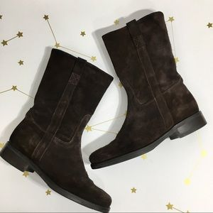 J Crew • Brown Suede Mid Calf Brewster Boots